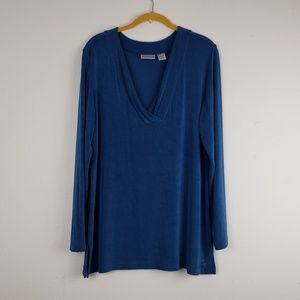 CHICO'S Traveler's Blue Long Sleeve Tunic